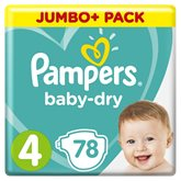 Pampers Couches Pampers - Baby Dry T4 : 9/14kg - x78 changes